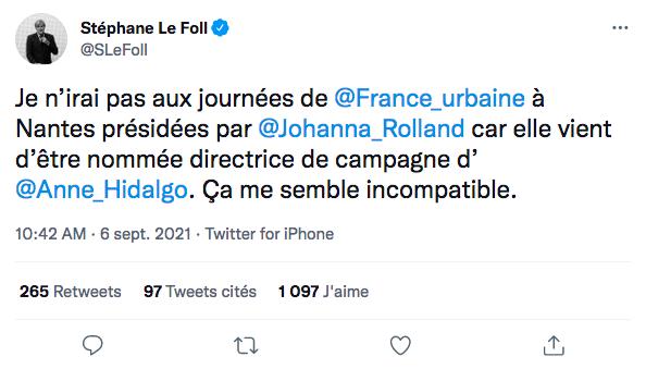 Tweet de Stéphane Le Foll
